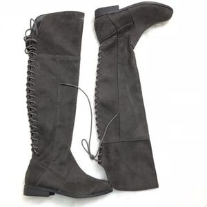 Lace Up Side Zipper Over the Knee Grey Boots Sz 6